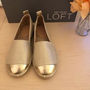 145e34bc1 LOFT Shoes | Nwt Metallic Cap Toe Espadrille Flat | Poshmark